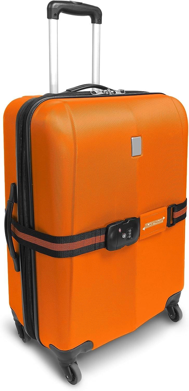 massima sicurezza per il viaggio antiscivolo Cinghie TSA ELASTRAAP per valigie Arancione