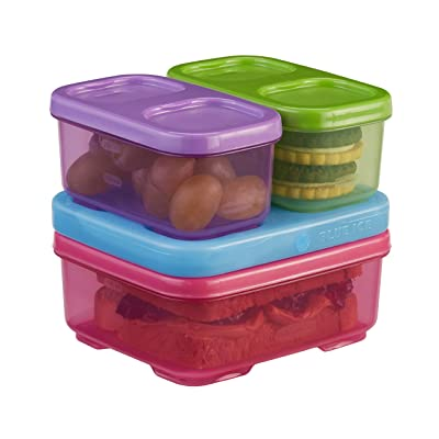Rubbermaid LunchBlox Kids Lunch Box and Food Prep Containers, Tall, Purple/Green/Pink | Stackable & Microwave Safe: Lunch Boxes For Kids: Kitchen & Dining