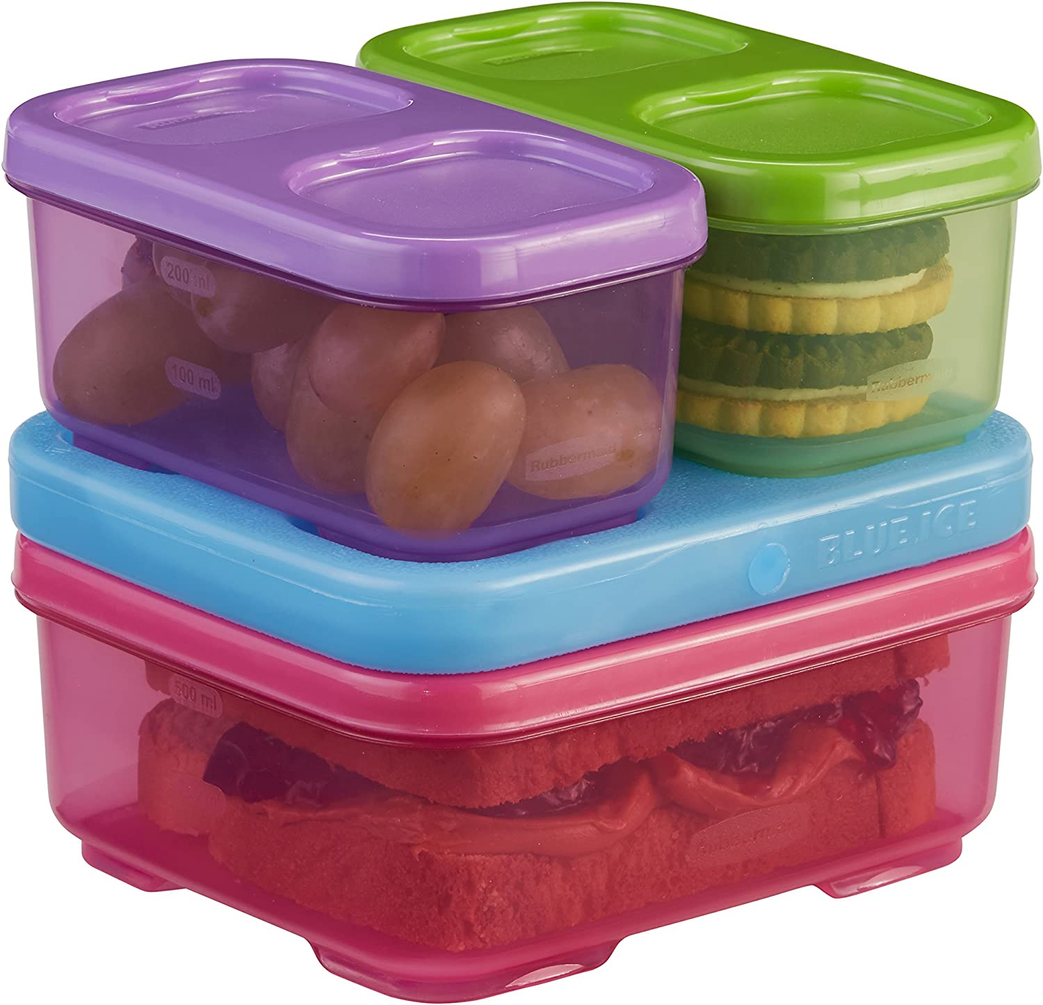 Rubbermaid LunchBlox Kids Lunch Box and Food Prep Containers, Tall, Purple/Green/Pink | Stackable & Microwave Safe