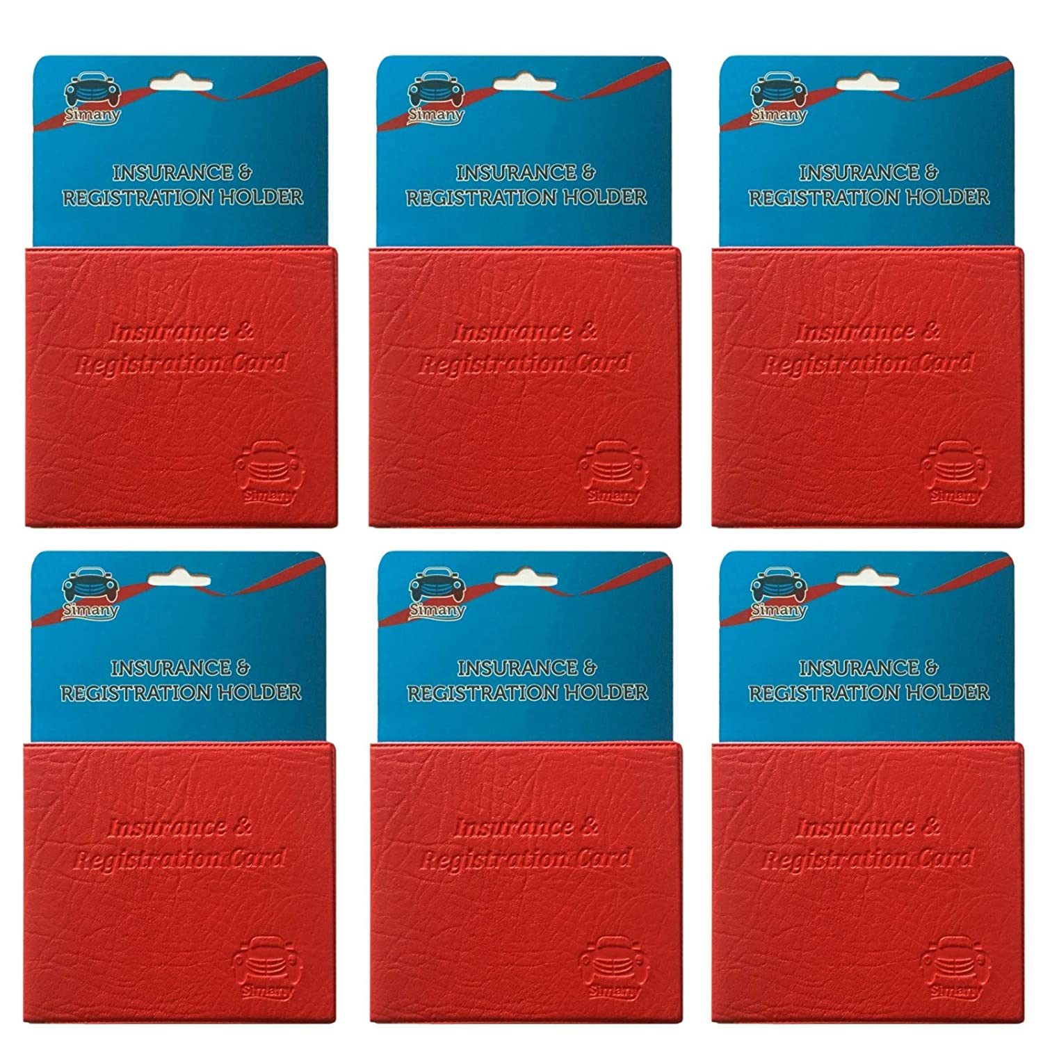 Set of 6 Red Car Insurance Registration Card Holder Embossed Faux-Leather Wallet 5.25 x 4.6 inch Simany