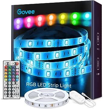 Govee Tiras LED, Luces LED RGB 5m con Control Remoto y Caja de Control, 20 Colores y 8 Modos de Escena para la Habitación, Techo, 12V
