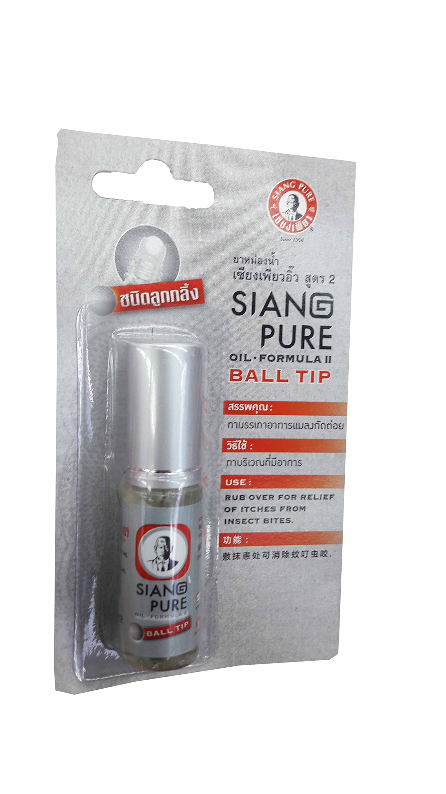 6 Packs of Siang Pure Oil Formular 2, Inhale or Rub Over for Relief of Dizziness, Faint, Muscle Pains, Insect Bites and Itches. (3 Ml/ Pack) (Ball Tip) by Siang Pure