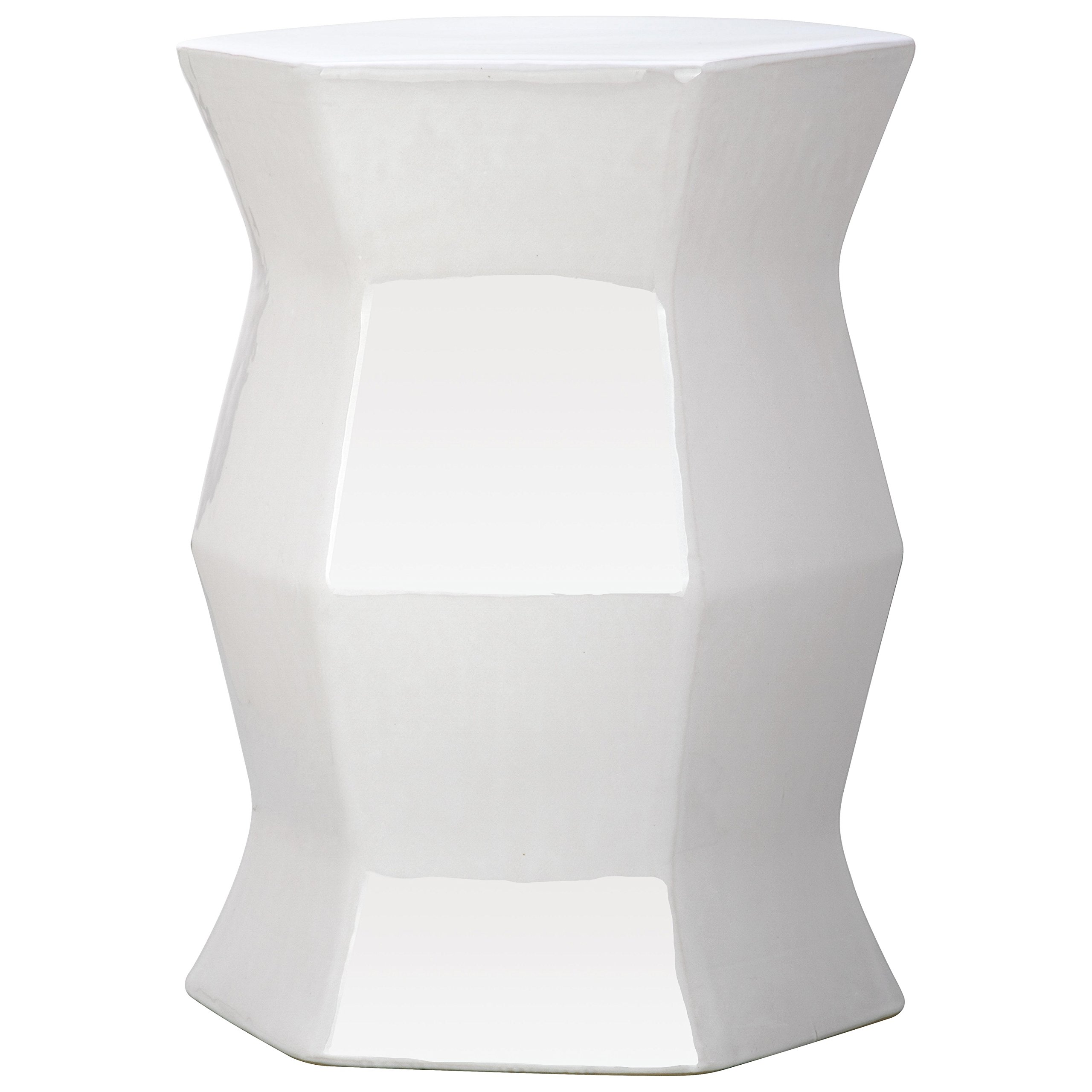 Safavieh Castle Gardens Collection Modern Hexagon White Glazed Ceramic Garden Stool by Safavieh (Image #1)