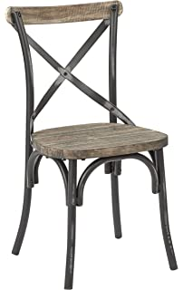 Ordinaire Office Star Somerset X Back Metal Chair With Hardwood Rustic Walnut Seat  Finish, Antique