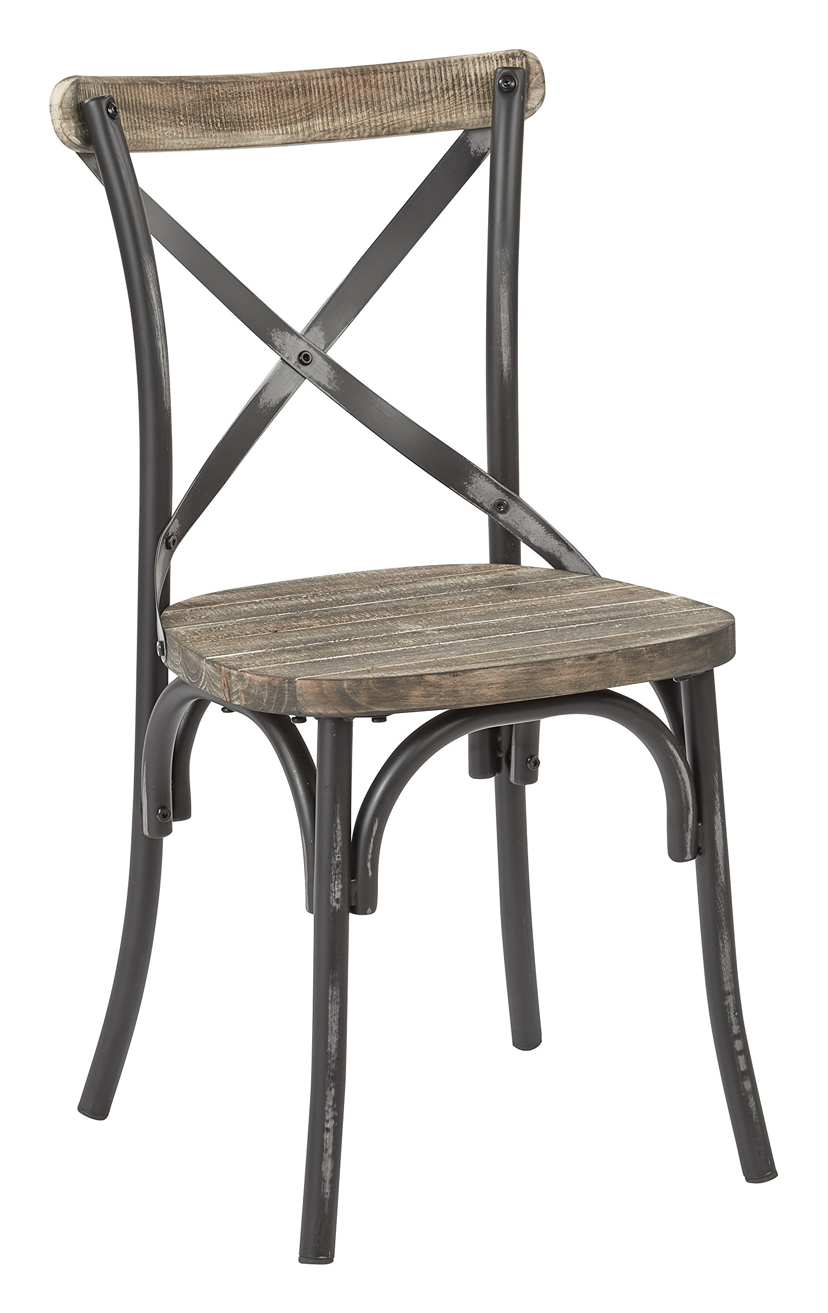 Office Star Somerset X-Back Metal Chair with Hardwood Rustic Walnut Seat Finish, Antique Black