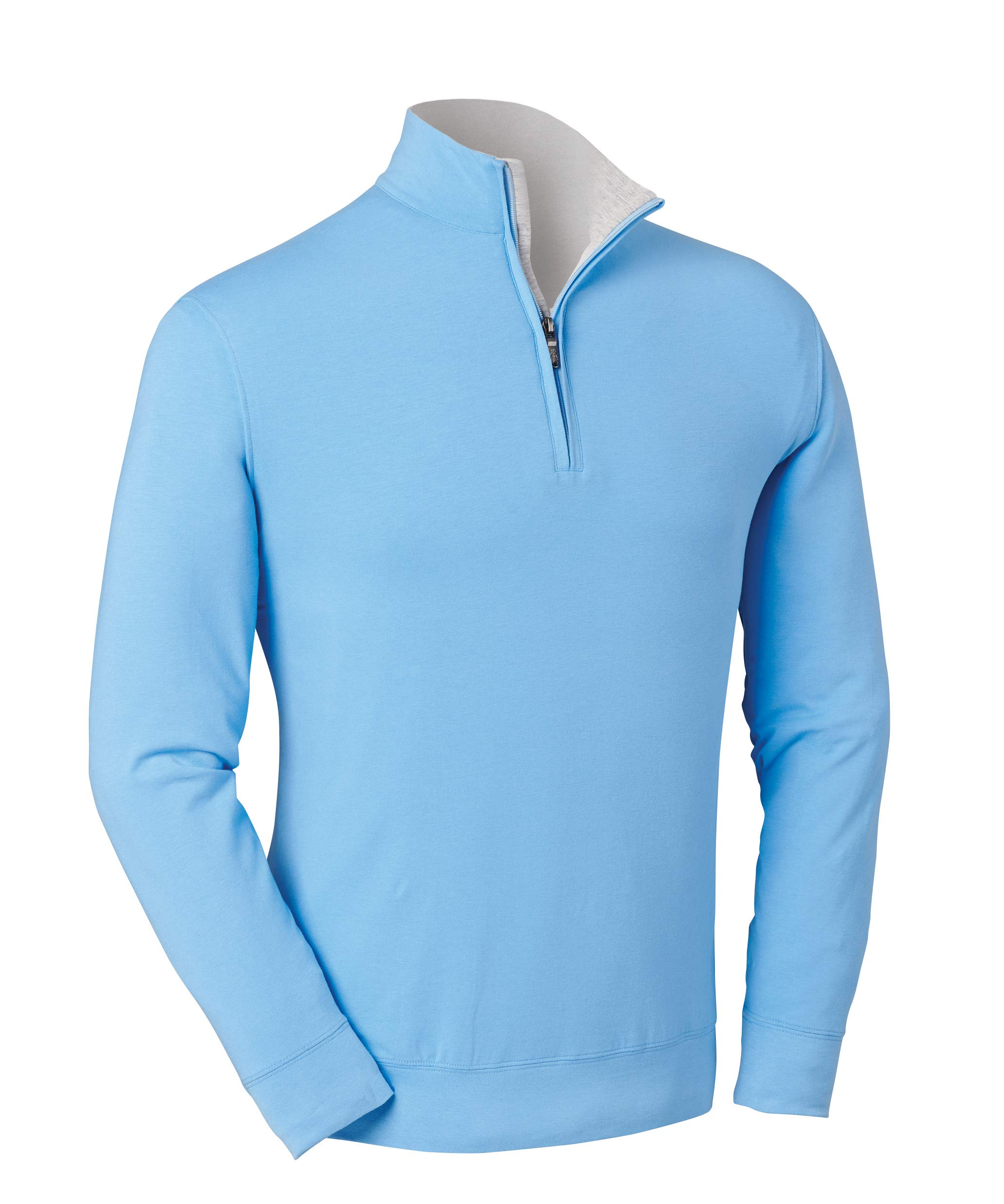 Bobby Jones Liquid Cotton Stretch Golf Pullover - Men's 1/4 Zip Pullover Golf Apparel Sky Blue by Bobby Jones