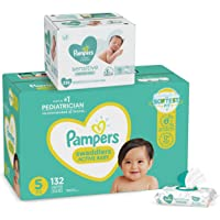 132-Count Pampers Swaddlers Disposable Baby Diapers, Size 5 + 336-Count Pampers Sensitive Water Based Baby Wipes