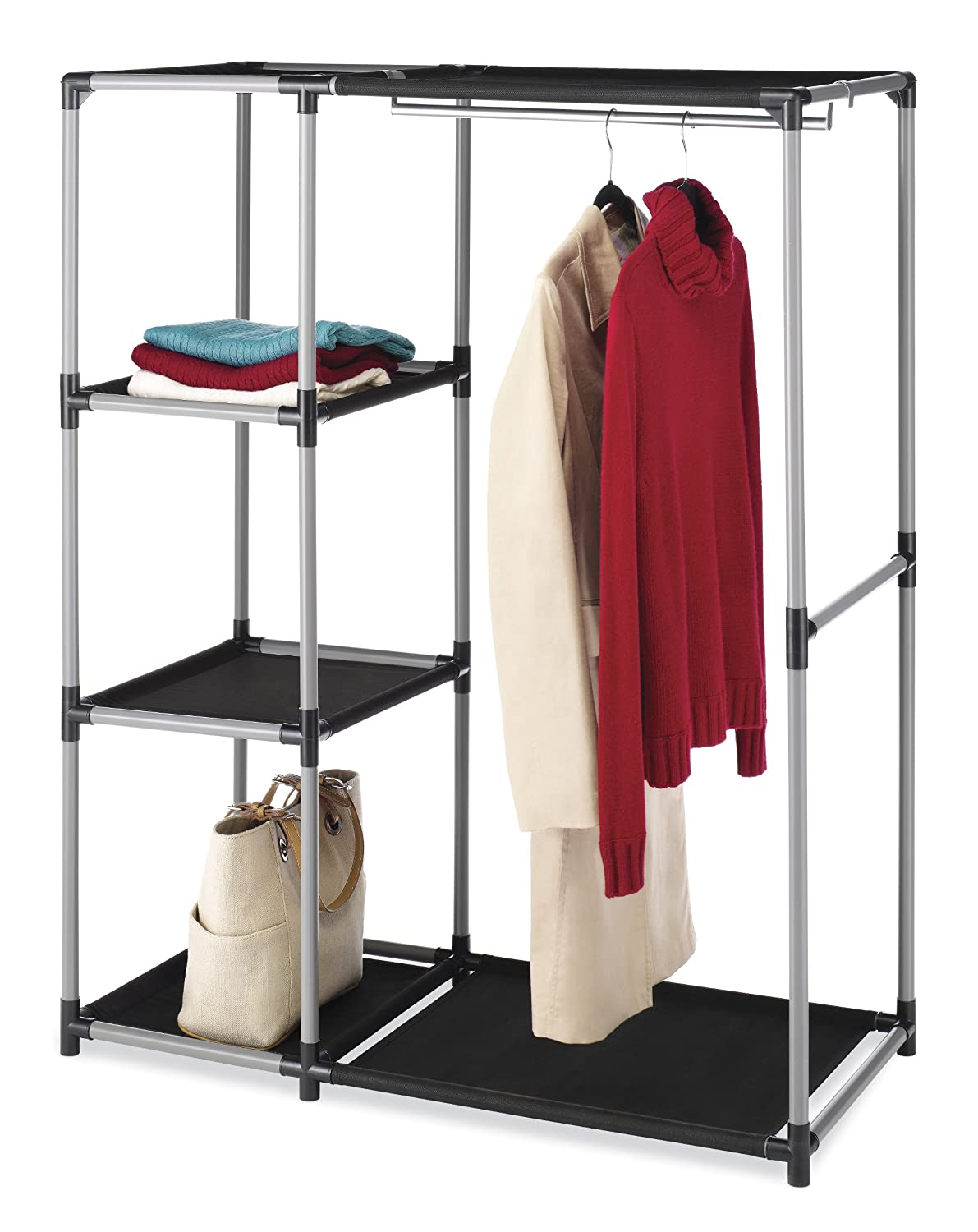 Amazon.com: Whitmor 6170 4297 Spacemaker Garment Rack And Shelves: Home U0026  Kitchen