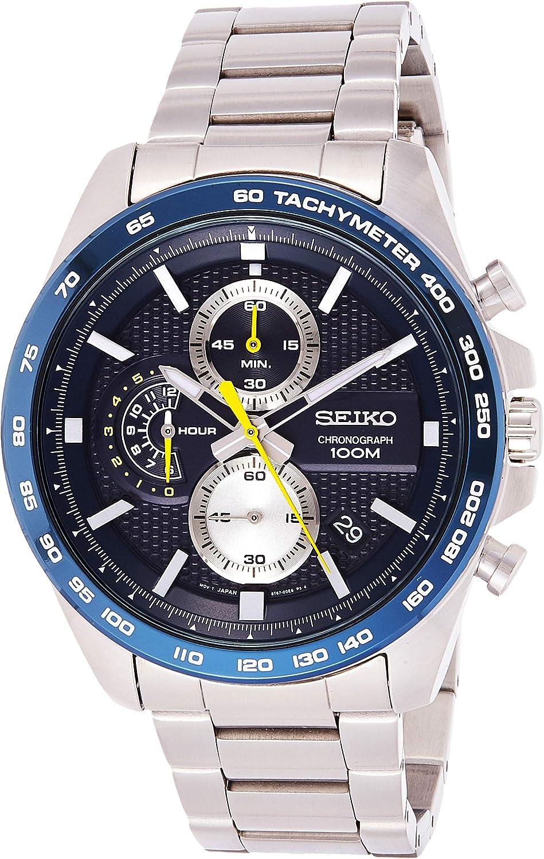 Seiko Men s 44mm Steel Bracelet Case Hardlex Crystal Quartz Blue Dial Analog Watch SSB259P1
