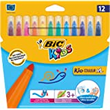 BIC Kids Kid Couleur XL - Pack de 12 rotuladores de colorear gruesos