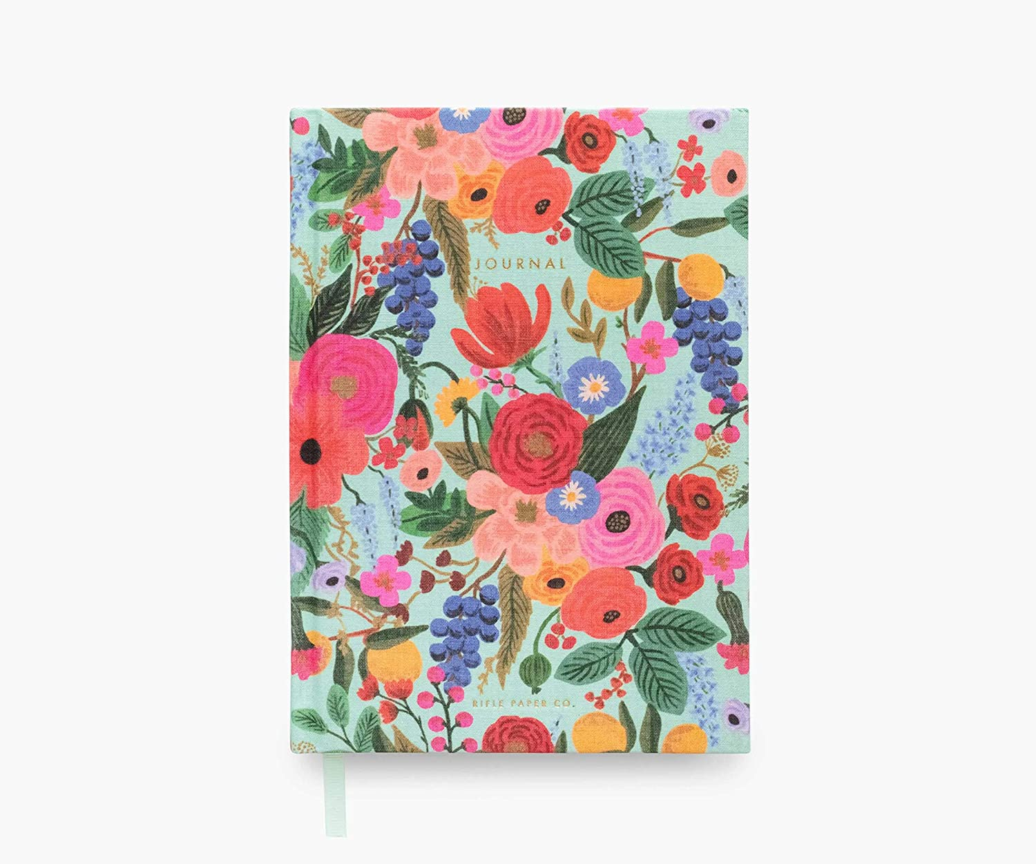 Rifle Paper Co. Garden Party Fabric Journal, Features a Hard Cover Wrapped in Printed Book Cloth, Lay-Flat Binding, a Coordinating Bookmark, 144 Ruled Pages with Metallic Gold Ink