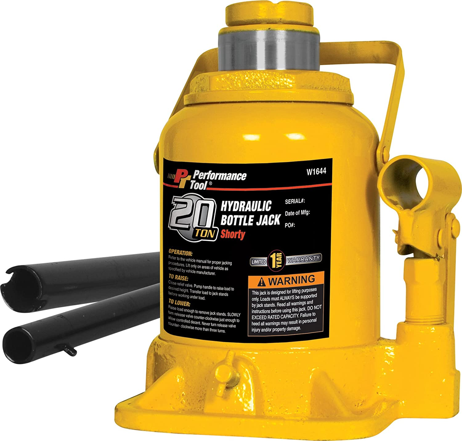 Performance Tool W1643 12 Ton (24, 000 lbs.) Heavy Duty Shorty Bottle Jack Wilmar Corporation