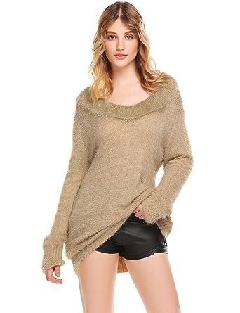 Sexy Pullover Winter Casual Sweatshirt Sweater Oversized Tops T-shirt mit  V-Ausschnitt Beige 1c0fddf833