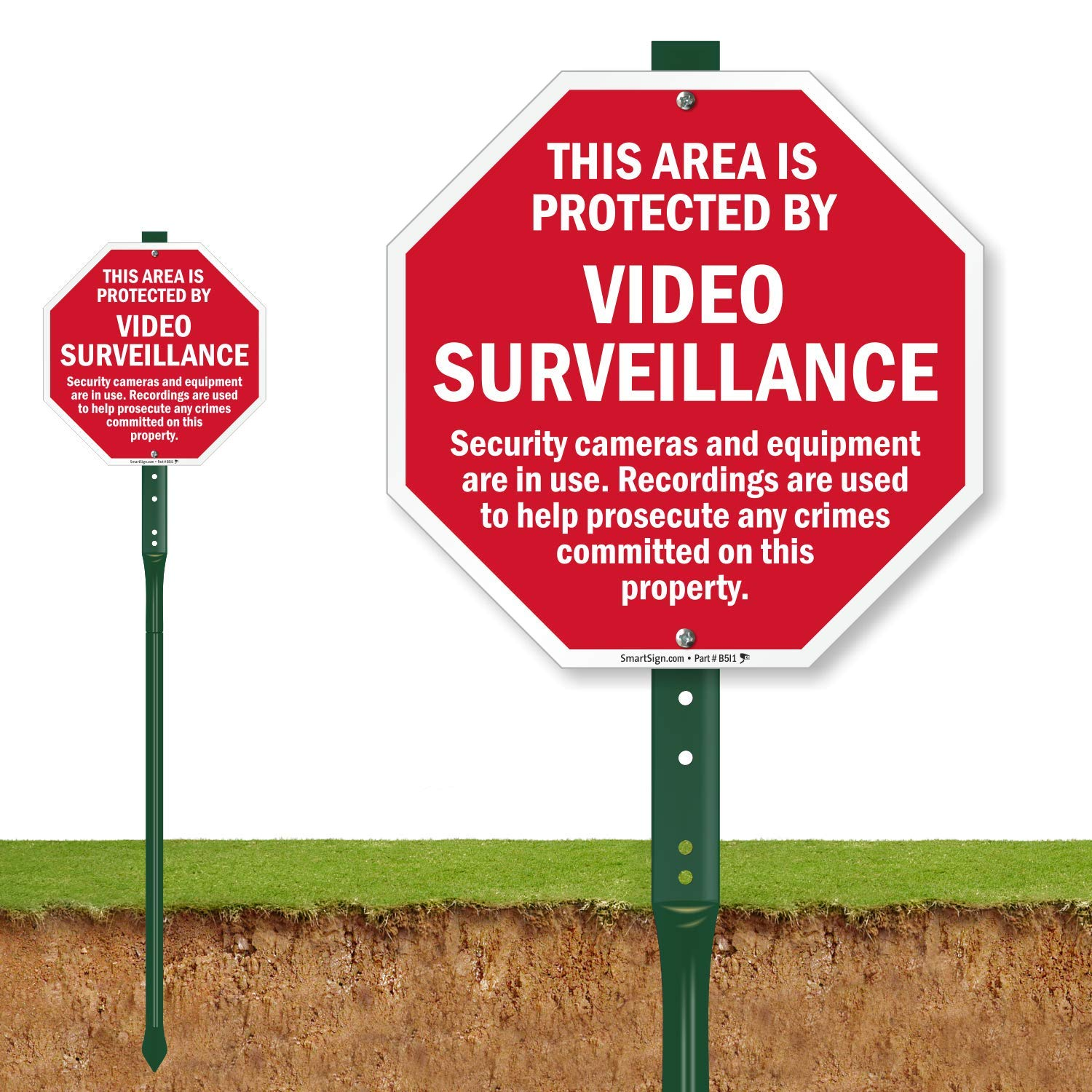 SmartSign ''This Area Is Protected By Video Surveillance'' LawnBoss Sign | 10'' x 10'' Aluminum Sign With 3' Stake by SmartSign