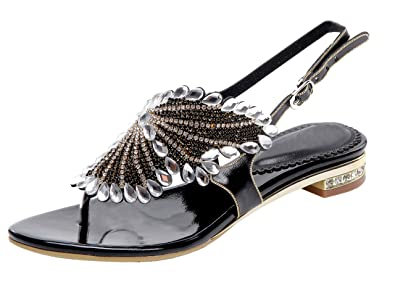 3a1df4257 Honeystore Women s Flat Sandals Butterfly Rhinestone Patern Slingback Thong  Sandals Black 4.5 B(M)