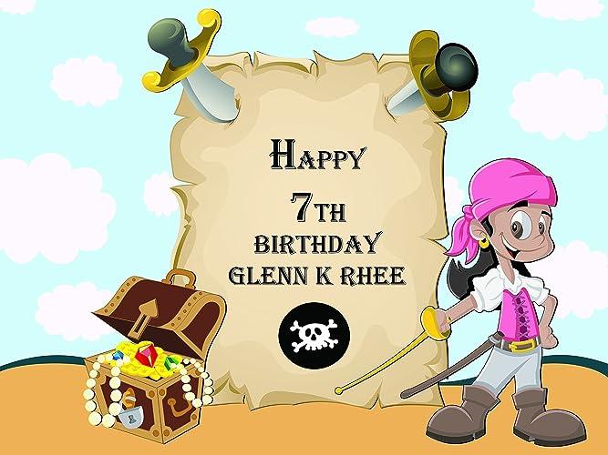 Amazon.com: Custom Home Décor Pirate Girl Birthday Poster for Kids ...
