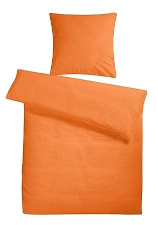 Leichte Seersucker Bettwäsche 155 X 220 Cm Orange Atmungsaktiver