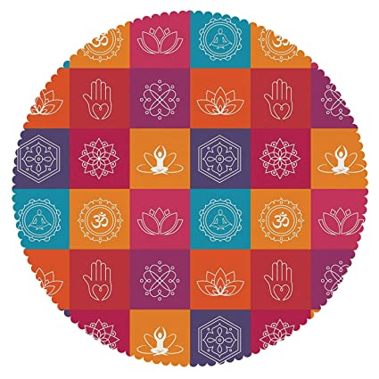 Amazon.com  iPrint Upscale Round Tablecloth   Yoga ca63723591f16