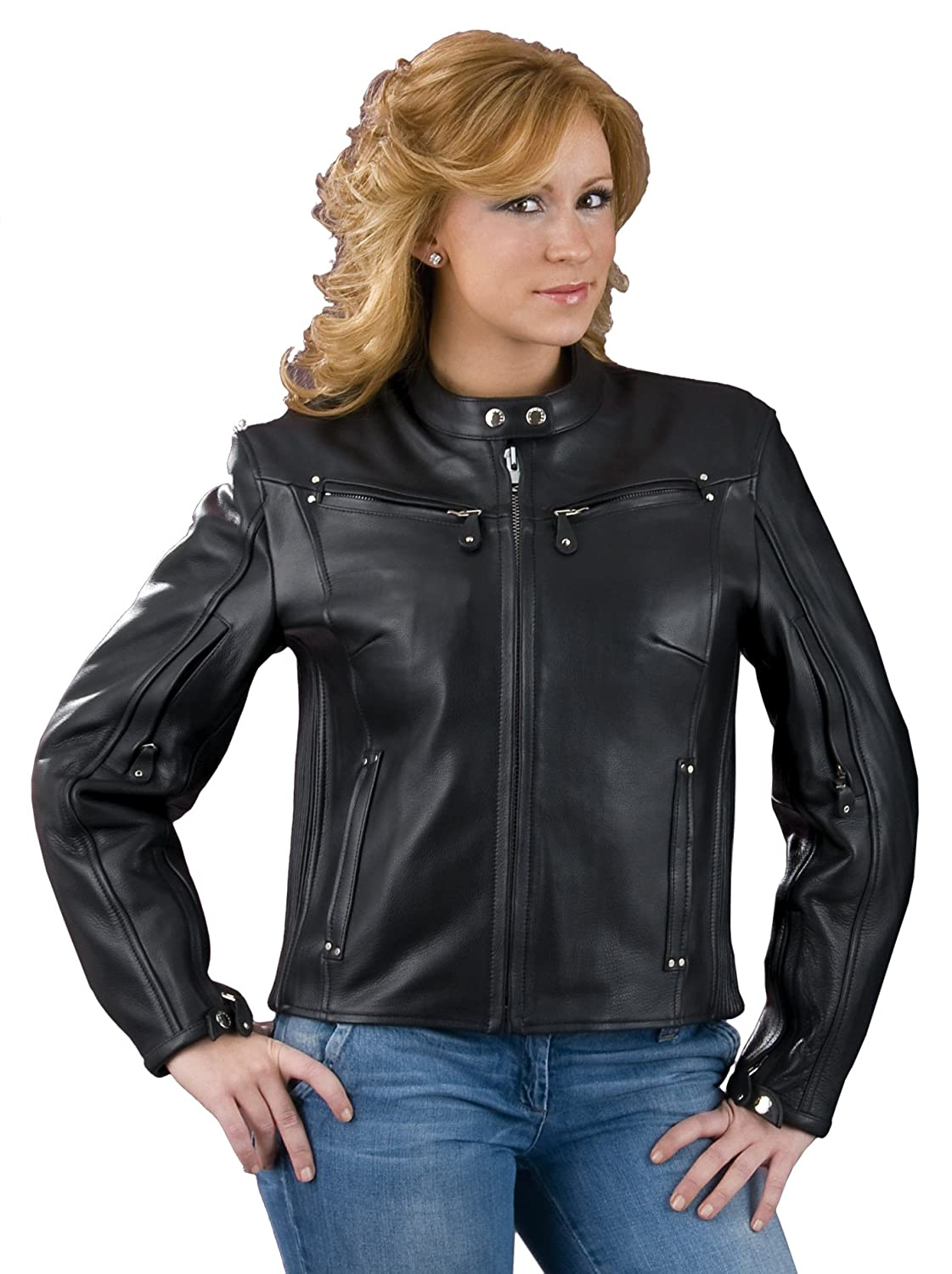 Milwaukee Leather Womens Naked American Leather Vented Scooter Jacket Black, XXX-Large ML2002-BLK-3X