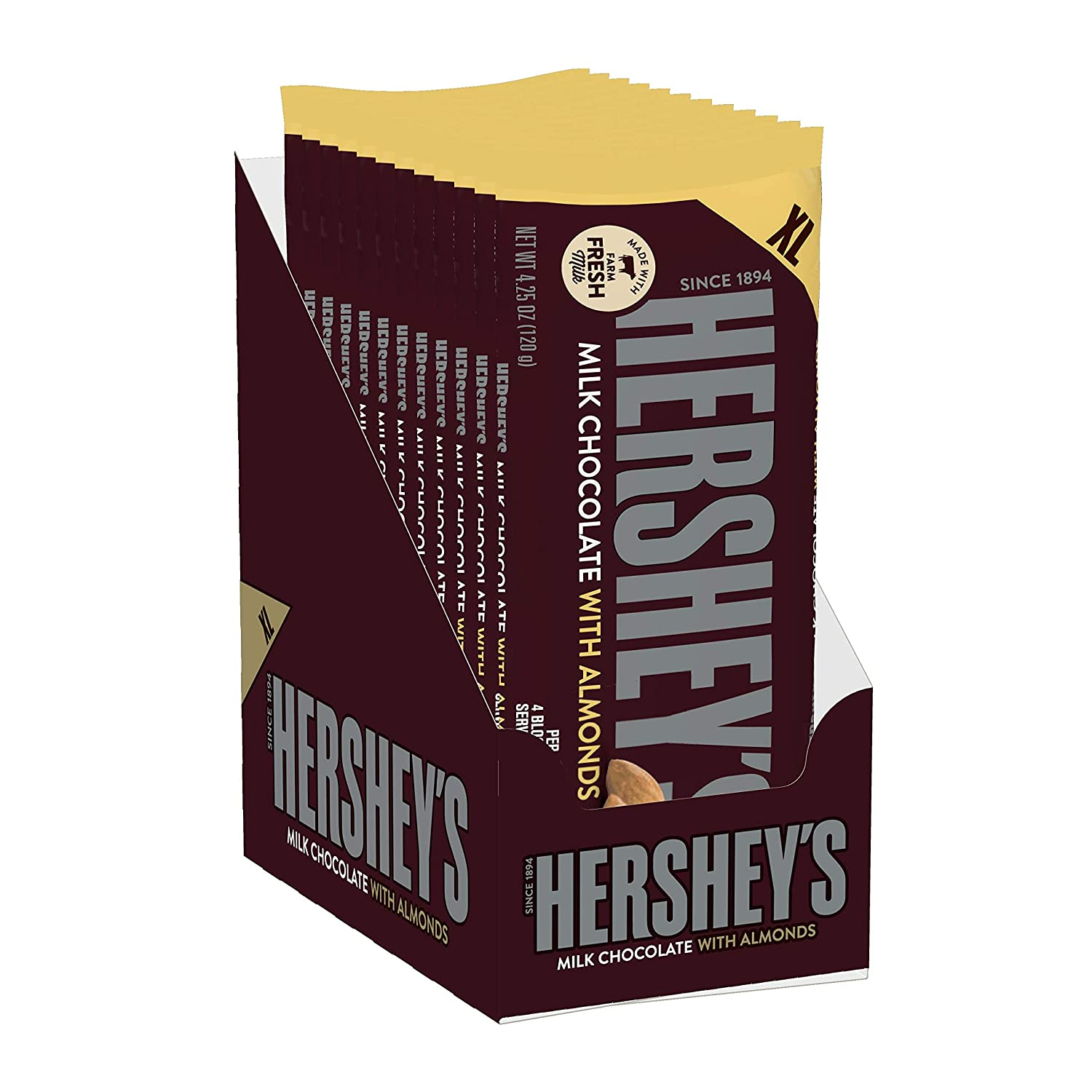 HERSHEY'S Bulk Holiday Milk Chocolate Candy Bar with Almonds, 4.2 Oz. (Pack of 12)