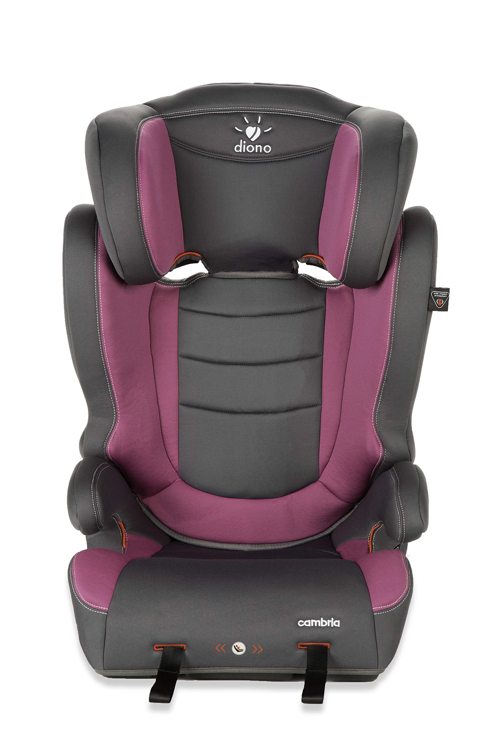 Diono Cambria Booster – 2-in-1 Car Seat – High Back and Backless Booster - Forward-Facing 40-120 Pounds - Overprotective in All the Right Ways, Raspberry