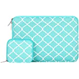 Mosiso Quatrefoil Style Canvas Fabric Laptop Sleeve Bag Cover for 13-13.3 Inch MacBook Pro, MacBook Air, Notebook with Small Case, Hot Blue