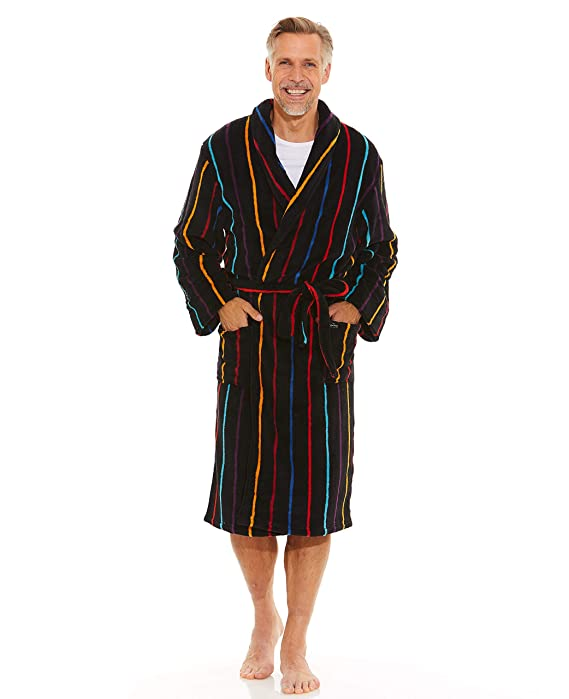 Savile Row Men\'s Black Multi Stripe Super Soft Dressing Gown at ...