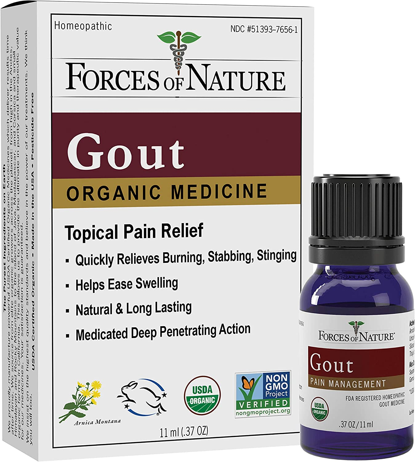 Forces of Nature – Natural, Organic Gout Relief (11ml) Non GMO, No Harmful Chemicals –Fast Acting Relief for Inflammation, Discomfort, Burning Pain Caused by Gout in the Toes, Feet, Hands and Joints