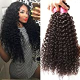 Longqi Beauty Unprocessed Brazilian Curly Virgin Human Hair Weave 3 Bundles with 1 piece Free Part Lace Top Closure 100% Human Hair