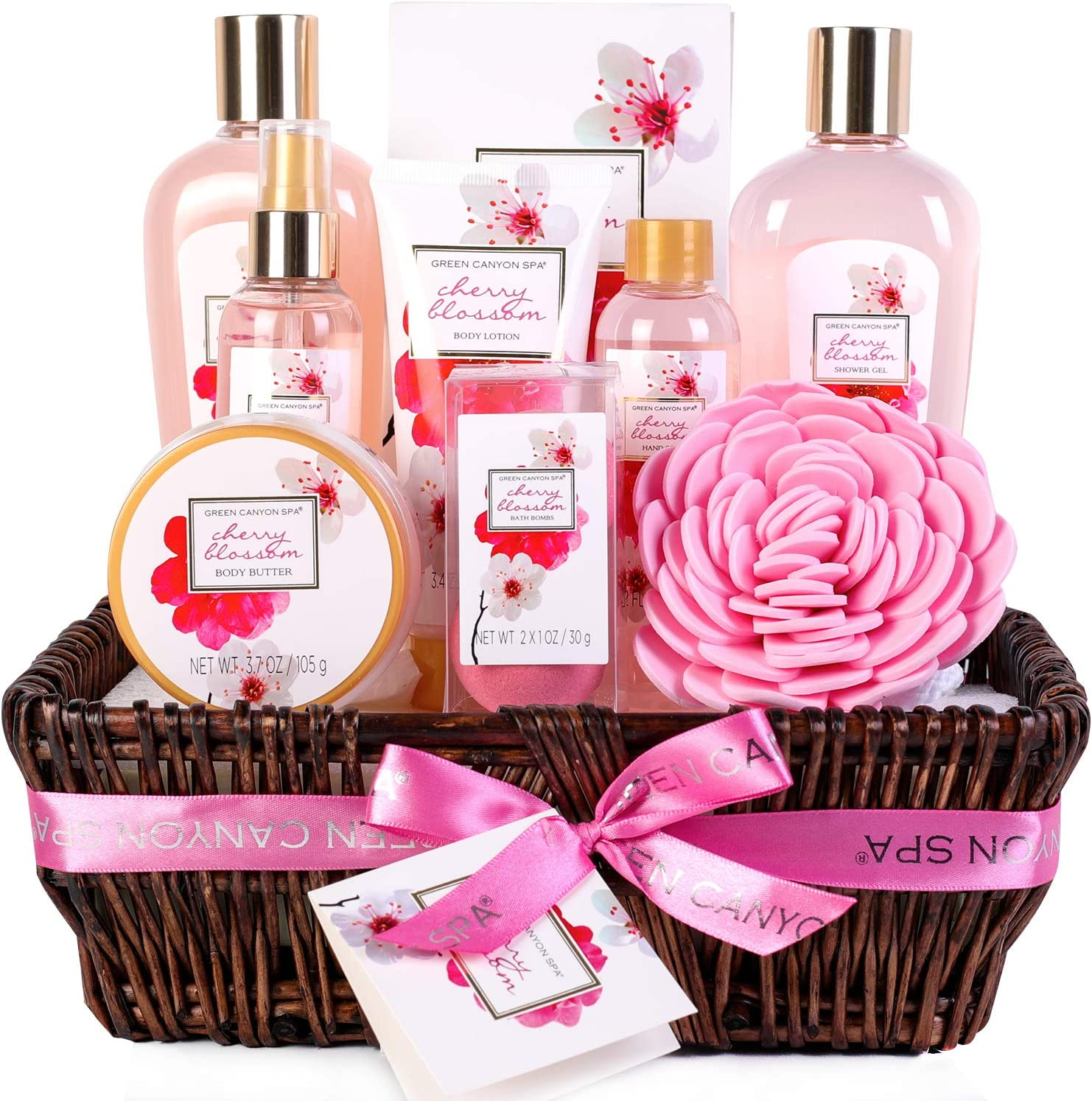 Green Canyon Spa Bath Gift Set For Her Birthday Gift Sets 10 Pcs Cherry Blossom Essential Oil Spa Gift Sets With Handmade Weaved Basket Amazon Co Uk Beauty