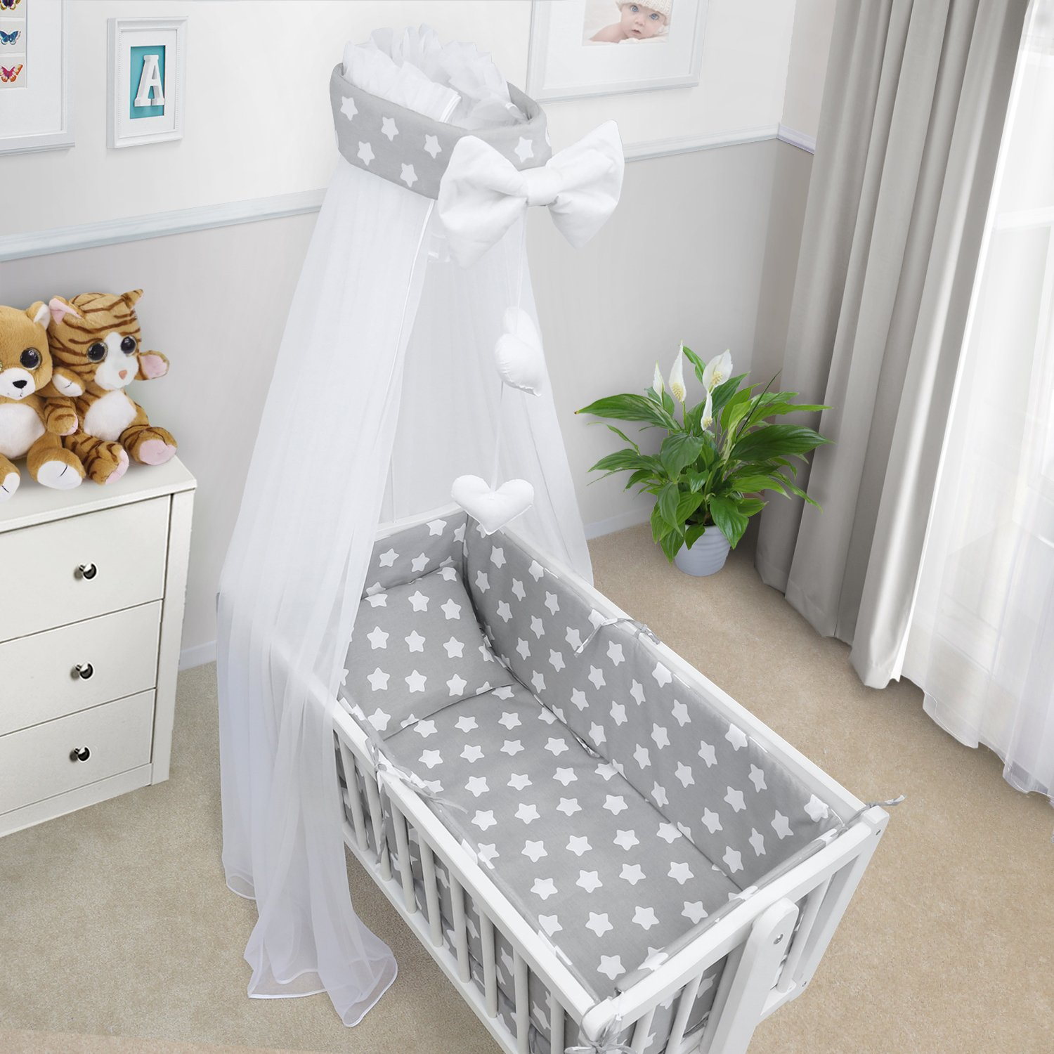 BABY BEDDING SET CRIB CRADLE 10 Pieces PILLOW DUVET COVER BUMPER CANOPY to fit Crib 90x40cm 100% COTTON (Big Stars Grey) TheLittles24