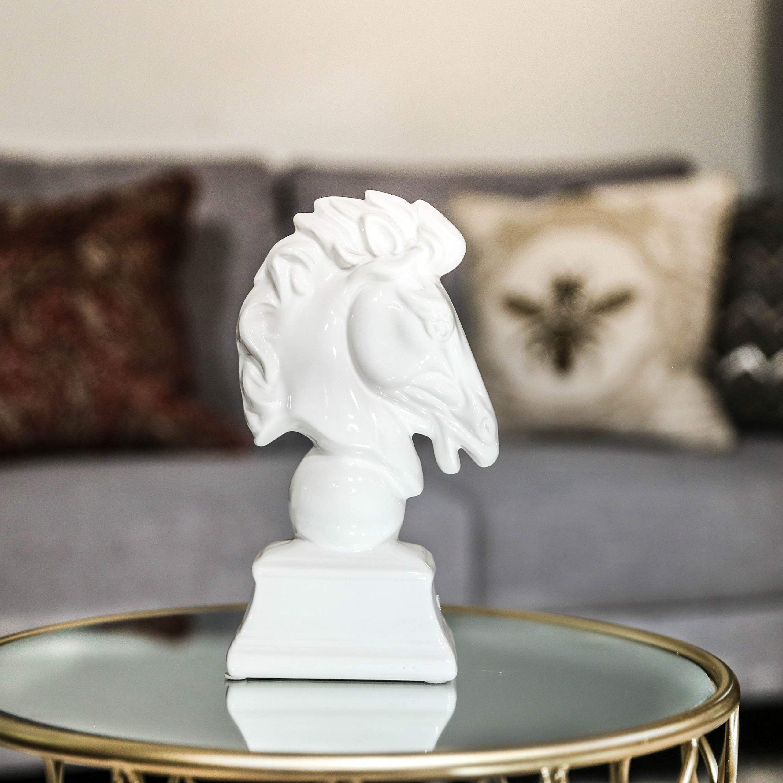 Urban Trends Porcelain Horse Head on Trapezoidal Pedestal Gloss Finish, White by Urban Trends