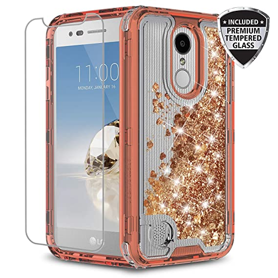 LG Aristo 3 / Aristo 2 / Risio 3 / Rebel 3 Case, TownShop Liquid Quicksand  Waterfall Flowing Sparkle Shiny Girls Cute Case with [Tempered Glass Screen
