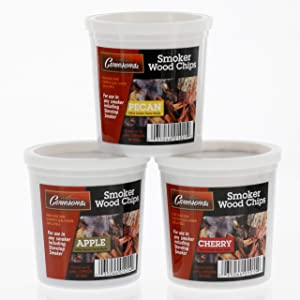 Wood Smoking Chips - Pecan, Apple, and Cherry Wood Chips for Smokers - Set of 3 Resealable Pints