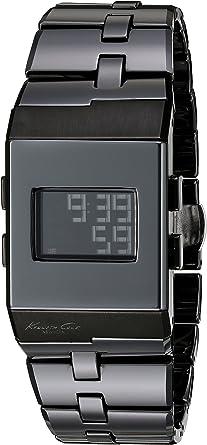 Kenneth Cole DIGITAL - Reloj digital de mujer de cuarzo con correa de acero inoxidable negra - sumergible a 100 metros: Amazon.es: Relojes