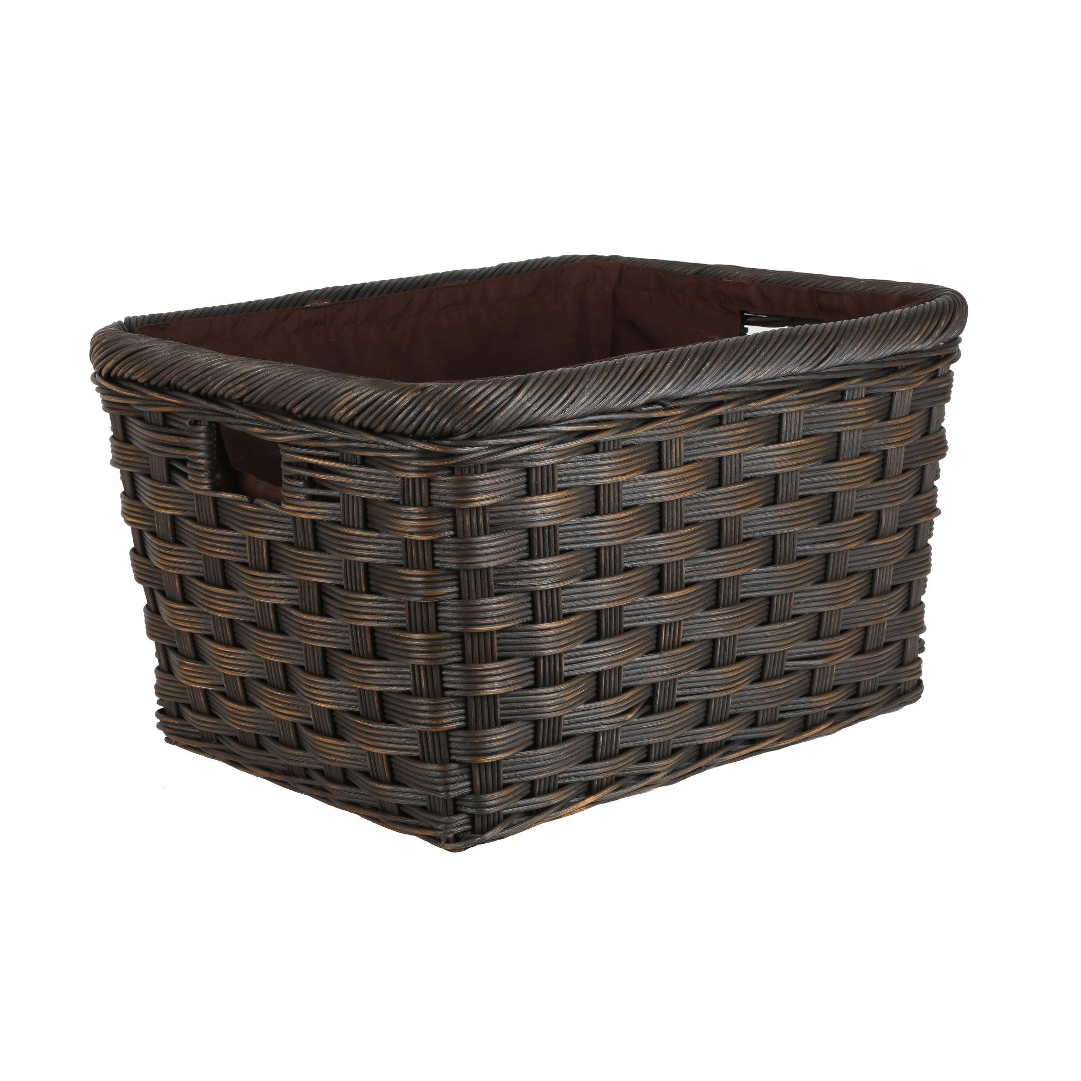 The Basket Lady Jumbo Wicker Storage Basket, XL, Antique Walnut Brown