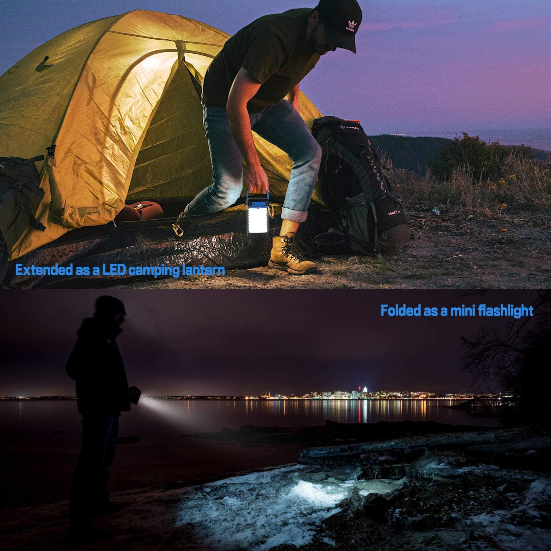 Notf/älle Solar-Mini-Taschenlampe Nachtlicht Garten Zelt Terrasse Taschenlampe LED-Camping-Laterne tragbar zusammenklappbar und wasserdicht mit USB-Ladeger/ät als Powerbank f/ür Wandern wiederaufladbar