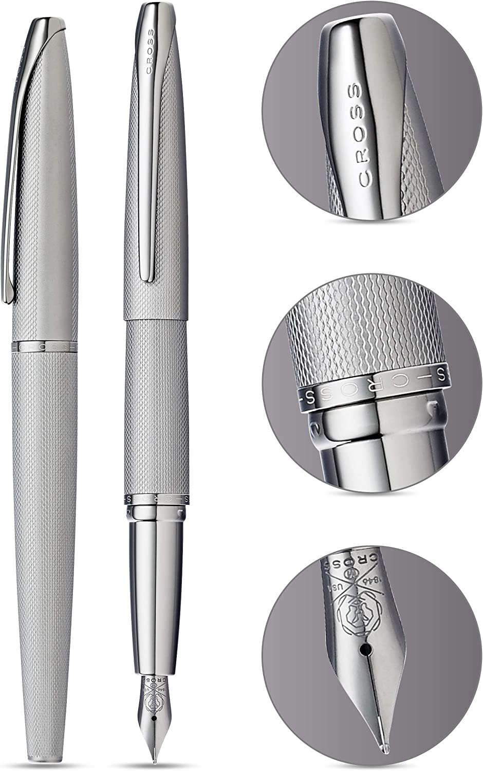 Cross ATX Brushed Black PVD Selectip Rollerball Pen with Etched Diamond Pattern