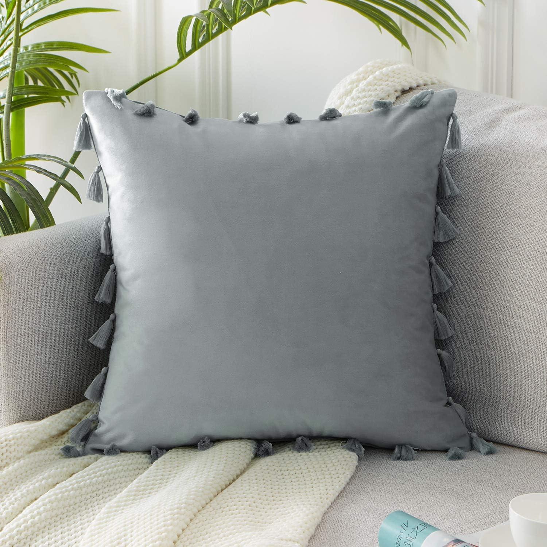 Topfinel Black Oblong Tasseled Cushion Covers 12x20 Inch Velvet Soft Decorative Throw Pillowcase for Office Sofa Bedroom 30cmx50cm,Pack of 2