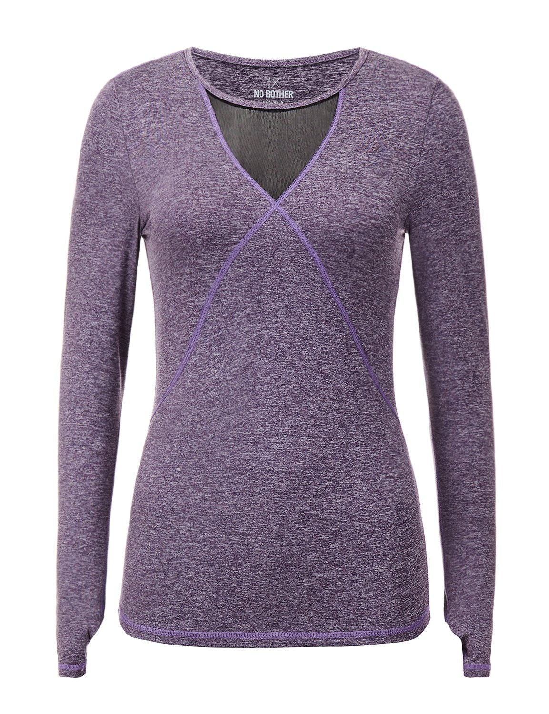 Regna X Women Long Sleeve v Neck HeatGear Performance Thumbhole Shirt Purple S by Regna X