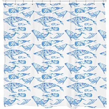 Whale Shower Curtain Fish Animal Pattern Beach Theme Decor Ocean Art Nautical Bathroom White Waterproof