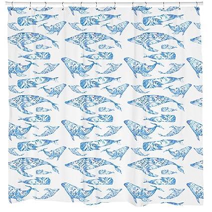 Whale Shower Curtain Fish Animal Pattern Beach Theme Decor Ocean Art