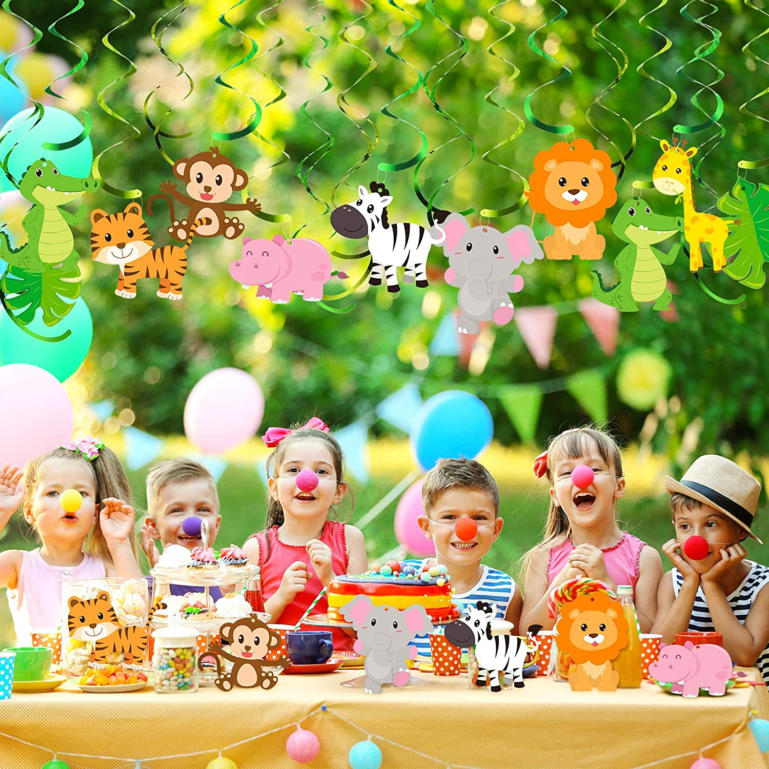 Green Safari Animals Forest Theme Birthday Party Foil Swirls Ceiling Supplies for Boy Girl Baby Jungle Theme Shower Decorations Supplies Blulu 30 Pieces Jungle Animals Hanging Swirl Decorations