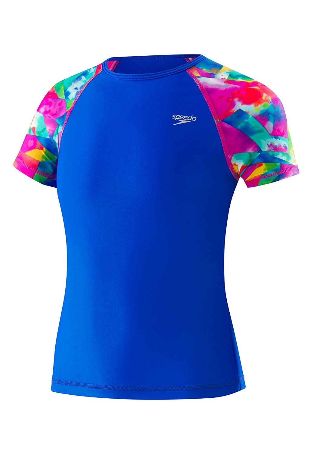 Speedo Girls Printed Short Sleeve Rash Guard Shirt Speedo Men/'s and Women/'s Swimwear 7714724-P