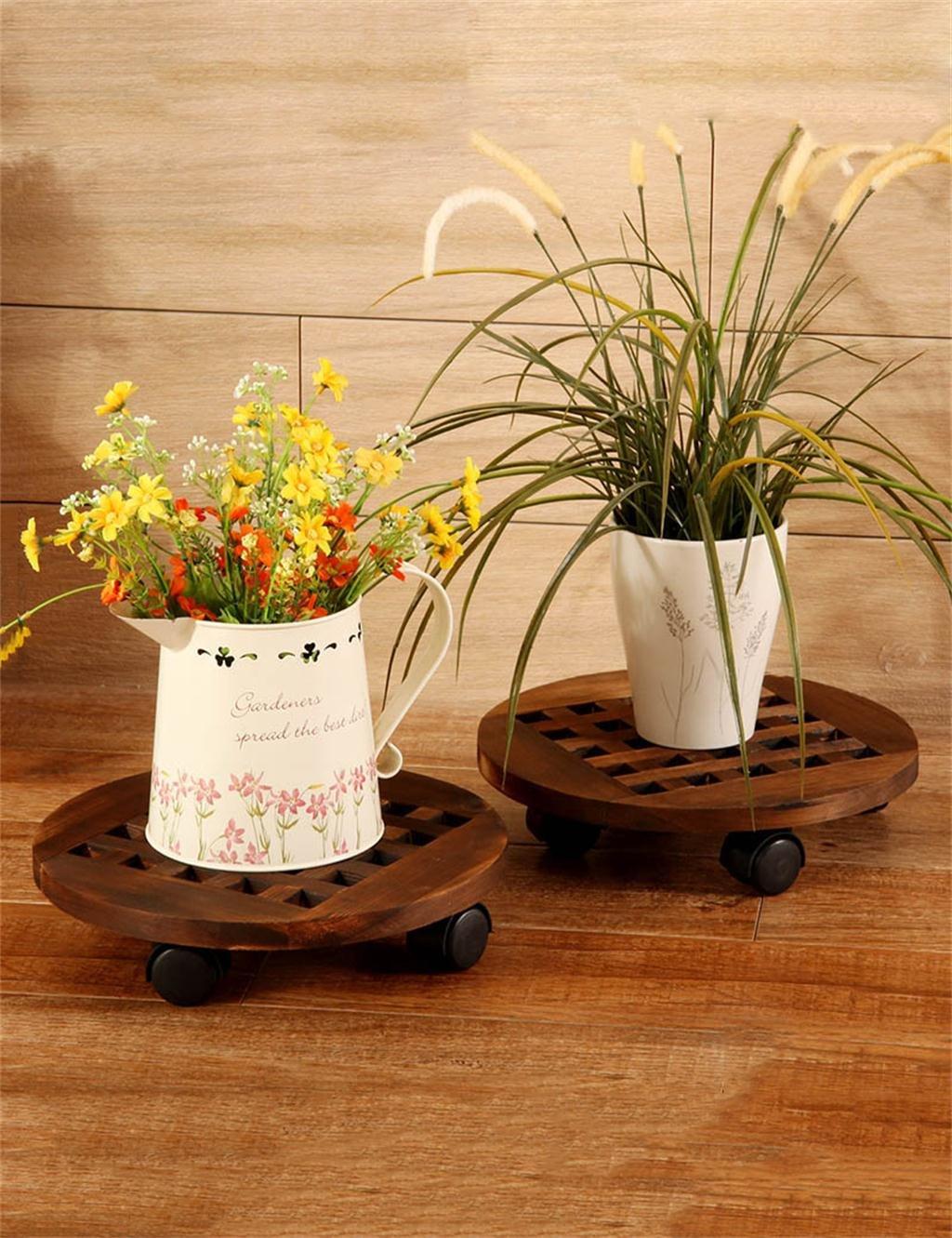 LB huajia ZHANWEI Runder Boden Mobile Massivholz Blumentopf Regal Blumenrahmen Blumentopf Halter Balkon mit Rad Packung 2