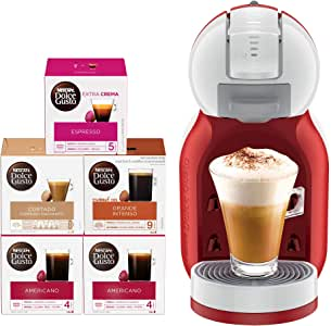 Nescafe Dolce Gusto Mini Me Coffee Machine (with 5 Capsule Boxes), Red, 2 Year Manufacturer Warranty