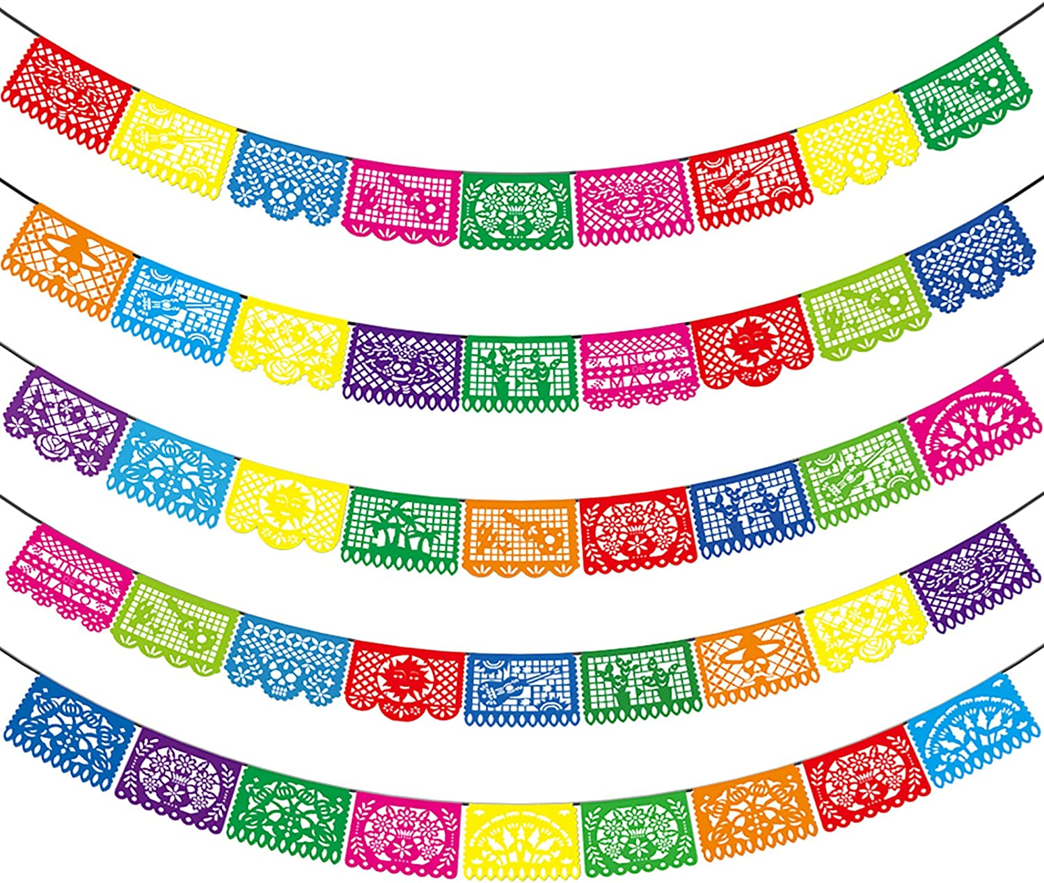 Mexican Party Banners - 5 Pack Fiesta Mexican Party Dia De Los Muertos Decorations Memorial Day Mexicano Fiesta Party Supplies Plastic Papel Picado Banners - 5 Different Designs, 90 Feet Long Totally
