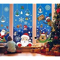Christmas Window Clings, TERSELY 8 Sheets Double-Side Christmas Window Stickers, Snowflake Snowman Santa Reindeer Window…