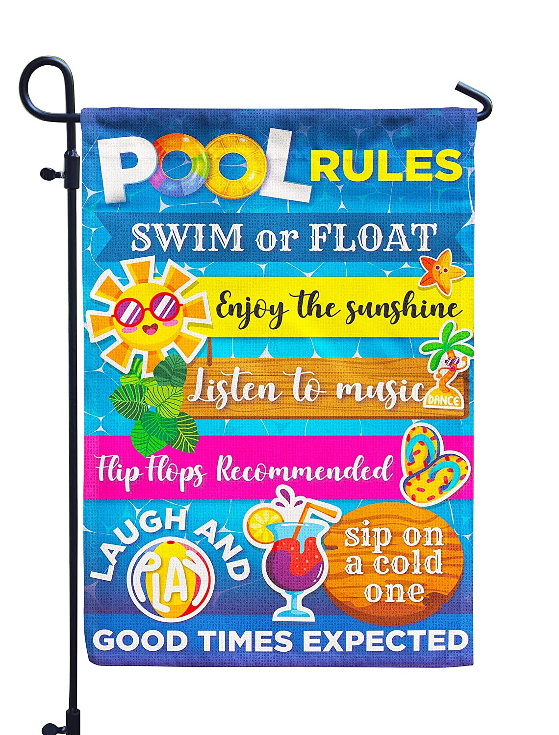 Pool Rules Signs and Decorations Outdoor, Summer House Garden Flag Double Sided Burlap 28x40Inch