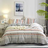 PHF 100% Cotton Seersucker Duvet Cover Set Queen Size, 3pcs Boho Decorative Comforter Cover Set, Printed Bohemian Duvet Cover